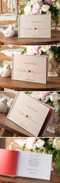Wedding Wooden Guest Book with Custom Engraving #realwood #weddingguestbook #weddingideas