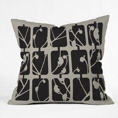 Natt Flowers Mono Throw Pillow #gray #black #pattern #bedroom