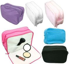 Best Bridesmaids Gift, customizable waffle cosmetic bags with 6 color options... Matched with our waffle robes. Check out our online store now ---> www.towelrobes/.com Or click this picture. #bridesmaids #gifts #cosmeticbag