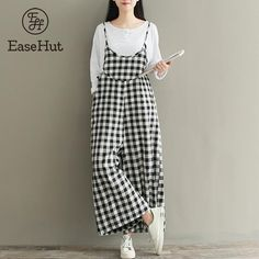 EaseHut Plus Size Rompers Women Check Plaid 2018 Jumpsuits Overalls Vintage Strappy Casual Loose Harem Pants Long Trousers-cigauy Plus Size Romper, Plus Size Jumpsuit, Jumpsuit Dress, Playsuit, Rompers Women, Jumpsuits For Women, Overalls Vintage, Bib Overalls, Modele Hijab