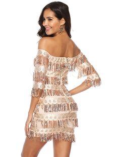 b95752be Sequin Bodycon Dress 1920s Glitter Fringe Off The Shoulder Sheath Dress  #Sponsored #Dress,
