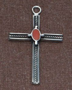 Vintage Native American Coral Sterling Silver Cross Pendant