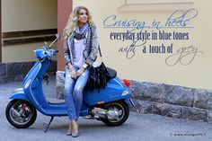 everyday style in blue tones with a touch of gray
