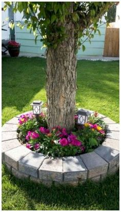 60 Cheap Landscaping Ideas for Front Yard You'll Fall in Love With - Garten - Cheap Landscaping Ideas For Front Yard, Landscaping Around Trees, Garden Yard Ideas, Outdoor Landscaping, Garden Projects, Outdoor Gardens, Diy Landscaping Ideas, Garden Beds, Backyard Patio