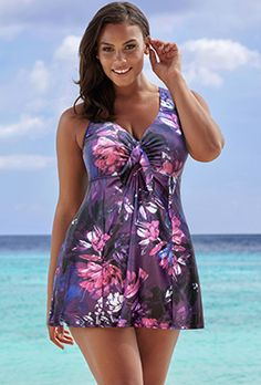 8f4a19441f5 Beach Belle Lotus Tie-Front Swimdress Stylish Plus, Swim Dress, Swimwear  Fashion,