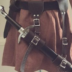 Leather sword belt hangers,  adjustable fit & carry your sword comfortably balanced! Made and sold by folkofthewood on etsy