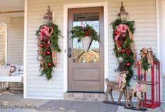 Christmas Front Porch @ DaisyMaeBelle lantern, the doors, christma decor, porch decor, christma front, wreath, burlap bows, front porches, christmas porch