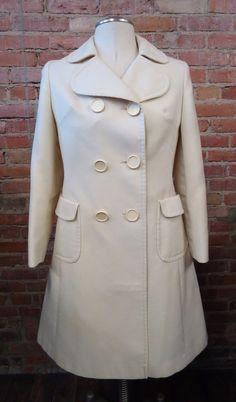 RARE! VINTAGE! Christensen Women's Distingette Ivory Military Style Coat M/L? #Christensen #Military #vintagecoat #militarycoat