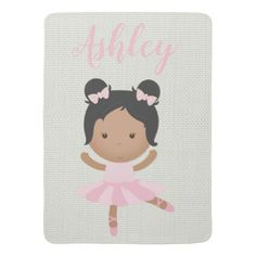 African american baby girl name this room sign tap to pink baby girl ballerina ballet toe shoes dancer receiving blanket african american negle Choice Image