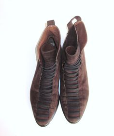 d8b70a0f06fe avant garde BOB ELLIS italian made brown suede leather ankle boots booties  with black laces. Etsy
