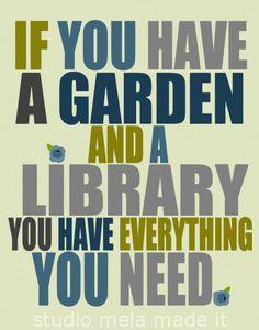 digital print, quote art, garden art poster, reading, library, gardener, studio mela - The Sweet Life (blue). $20.00, via Etsy.