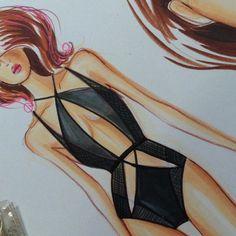"""Class Demo on coloring black swimsuit. Design inspired by ""Class Demo on coloring black swimsuit. Design inspired by Fashion Figure Drawing, Fashion Drawing Dresses, Fashion Illustration Dresses, Fashion Illustrations, Fashion Design Sketchbook, Fashion Design Drawings, Fashion Sketches, Lingerie Illustration, Jolie Lingerie"