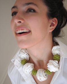 Items similar to White & Green Textile Jewelry / Chunky Statement Necklace / SPRING FLING Silk Necklace / Fiber Jewelry / Handmade Jewelry / Silk and Linen on Etsy Fabric Flower Necklace, Yarn Necklace, Knitted Necklace, Fiber Art Jewelry, Textile Jewelry, Fabric Jewelry, Clay Jewelry, Textiles, Moda Crochet