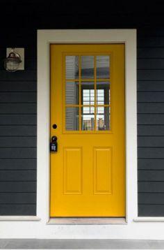 Grey Siding, Grey Exterior, Exterior Doors, Entry Doors, Entrance, Garage Doors, Red Door Yellow Door, Yellow Front Doors, Front Door Colors