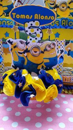 DECORACIONES INFANTILES Minion Birthday, Minion Party, Boy Birthday, Frozen Birthday Party, 1st Birthday Parties, Minion Centerpieces, Luau, Smurfs, Mickey Mouse