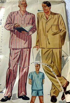 Vtg 1950s Mens Pajamas Sewing Pattern Large Chest 42 44 | eBay