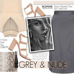How To Wear Grey & Nude Outfit Idea 2017 - Fashion Trends Ready To Wear For Plus Size, Curvy Women Over 20, 30, 40, 50