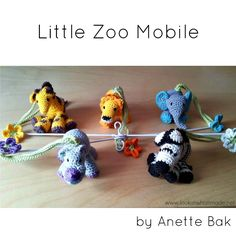 How To Make a Little Zoo Mobile By Anette Vestergaard Bak – a manic hoarder of crocheted Little Zoo Animals. (Notes in Italics by Dedri) I have had success with gifting Little Zoo Animals as mobiles or at least ready to be turned into a mobile. So here are the instructions for making a 5-animal mobile …