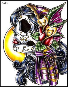 Sugar Skull Gypsy Lady Tattoo Design