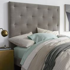Diamond Tufted Headboard #westelm prefer in Chenille Tweed, Frost Grey - For Guest Rm?