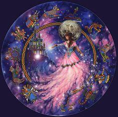 Arianrhod - Seu nome significa Roda de Prata ou Grande Mãe Frutuosa. Arianrhod é a Face Mãe da Deusa Tríplice para os povo de Gales. Honrada em especial na Lua Cheia, ela é a guardiã da Roda de Prata, símbolo do tempo e do karma. Senhora da Reencarnação