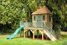 great way to get the effect of a treehouse without the trees..build the platform and plant trees around it. #buildachildrensplayhouse