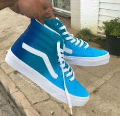 Blue Vans Custom Sneaker - - Source by georgvarney Shoes Custom Vans Shoes, Custom Sneakers, Cool Vans Shoes, Blue Vans Shoes, Custom High Top Vans, Women's Shoes, Vans Tennis Shoes, Vans Shoes Fashion, Fashion Boots