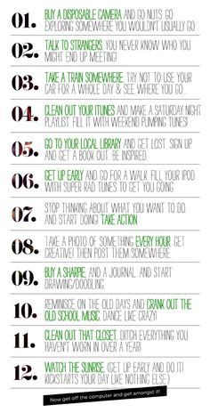 12 Things To Do This Weekend. | T W E L V E B Y O N E