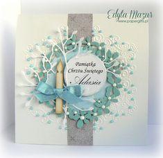 Blue garland of flowers - Card for Baptism Adam - handmade card Flower Garlands, Cool Cards, Christening, Quilling, Making Ideas, Cardmaking, Paper Crafts, Scrapbooking, Frame