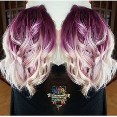 Gorgeous deep lilac shadow root with vanilla white blonde shafts and ends by @hairbykaseyoh #hotonbeauty