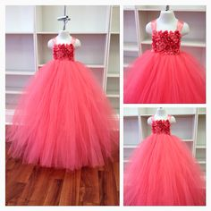 Coral Flower Girl Tutu Dress Floor Length by TaylorTylersMom, $65.00