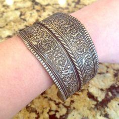 Make a statement detailed cuff Bronze/gold metallic bangle with detailed pattern Jewelry Bracelets