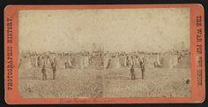 Garrison of Fort Wagner, Morris Island, having a dress parade inside the fort