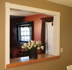 Trendy Kitchen Window Trim With Tile Pass Through Kitchen, Kitchen Pass, Kitchen Redo, Kitchen Remodel, Pass Through Window, Kitchen Family Rooms, Kitchen Living, Living Room, Built In Bar