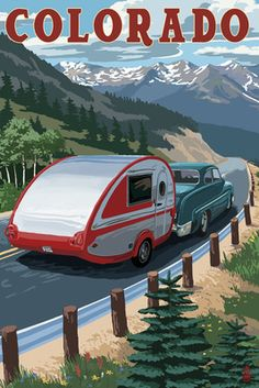 T@B Trailer swag! Colorado - Retro Camper - Lantern Press Poster - love for so many reasons!