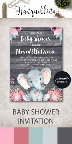 Safari baby shower invitation Girl elephant baby shower invitation printable, Girl Elephant Invitation Jungle Baby Shower Invitation, Floral Baby Shower Invites. tranquillina.etsy.com
