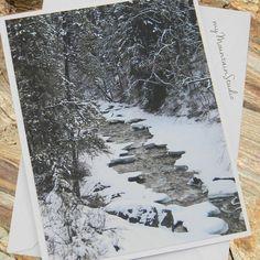 Snowy Mountain Stream Photo Note Card by myMtnStudioPhotos