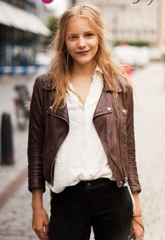 Women Brown Leather Jacket, Women R | Brown leather jackets ...