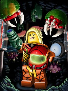 LEGO Metroid Shut up and take my money! Metroid Samus, Samus Aran, Lego Minifigs, Lego Mechs, Video Game Art, Video Games, Super Metroid Snes, Bird People, Lego Robot