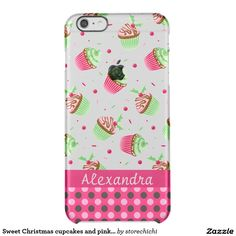 Sweet Christmas cupcakes and pink dots name Clear iPhone 6 Plus Case