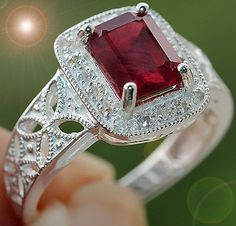 VINTAGE 2.60 cts RUBY & WHITE SAPPHIRE FILIGREE RING SOLID 925SS S#7  100% GUARANTEE SOLID 925 STERLING SILVER + GEM REPORT