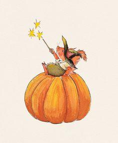 Halloween squirrel by @foxyporridge Children's book illustration