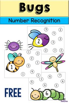 If you are looking for bugs themed printables for number sense, grab our our Bugs Number Recognition Printables. Emotions Preschool, Numbers Preschool, Preschool Learning Activities, Learning Numbers, Free Preschool, Preschool Themes, Preschool Printables, Kids Learning, Kindergarten Math