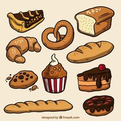 Cute Food Drawings, Cute Kawaii Drawings, Kawaii Art, Food Stickers, Journal Stickers, Cute Stickers, Kawaii Stickers, Desserts Drawing, Food Doodles