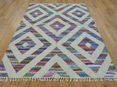 5' x 7' Durie Kilim Wool and Sari Silk Flat Weave Rug