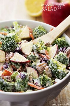 Broccoli Apple Salad -- Broccoli, pecans, cranberries, carrots and apples come together to make an amazing salad with delicious flavors and textures. The creamy dressing on top makes this salad absolutely incredible! Vegetarian Recipes, Cooking Recipes, Healthy Recipes, Apple Recipes, Keto Recipes, Healthy Salads, Healthy Eating, Healthy Food, Fruit Salads