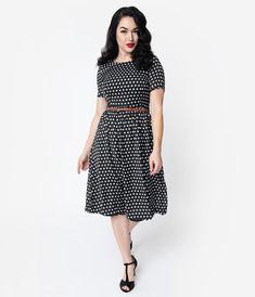 5ce7e7d131ad 1940s Style Black & White Polka Dot Crepe Short Sleeve Midi Dress – Unique  Vintage Vintage