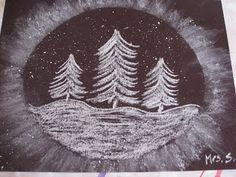 Snowglobe with oil pastel, paint and glitter