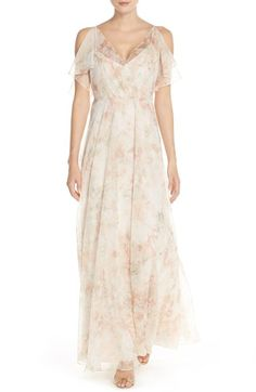 Jenny Yoo 'Cassie' Print Flutter Sleeve Chiffon Maxi Dress available at #Nordstrom