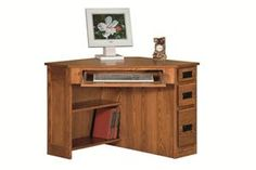 Amish Arts And Crafts Corner Computer Desk With Side Drawers